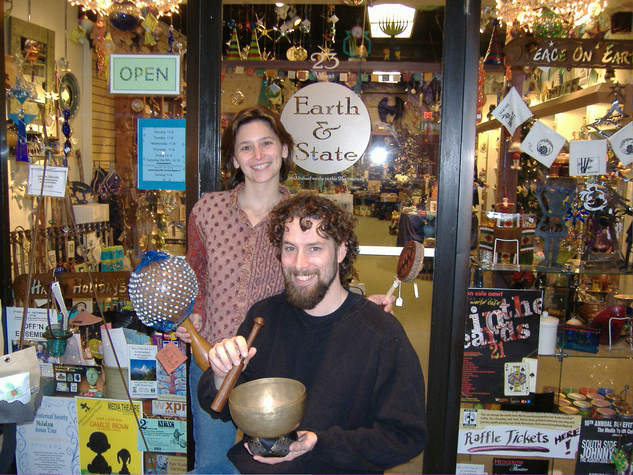 Heather & Drew Arata with fairly traded items at their Media store, Earth & State
